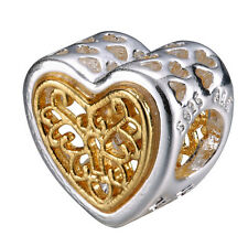 Love Heart Beads Charms DIY Charms For 925 Sterling Silver Bracelets Necklace