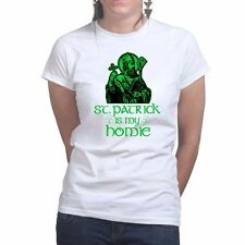 St Patrick Paddys Day Irish Leprechaun Shamrock Clover Ladies T shirt Tee Top