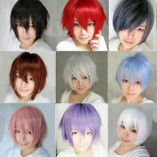 Unisex Fashion Anime Cosplay Wig Short Straight Multi-Colors Hair Costume Wig