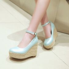 13CM High Wedge One-Strap Solid Women Shoes Classic Simple Dress Pumps Plus Size