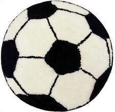BLACK WHITE FOOTBALL SOCCER RUG MAT 60CMS (24 INCHES)