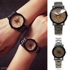 Delicate Unisex Couple Lovers Stainless Steel Quartz Analog Compass Wrist Watch