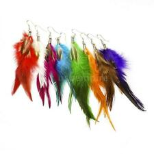 1 Pair Handmade Downy Feather Long Drop Eardrop Dangle Nice Earrings Women L5U7