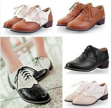 Womens Lace Up Flat Oxford Retro Punk Gothic Brogue Vintage Pumps Shoes Plus Sz