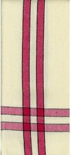 1- 100% Cotton Hemmed Tea Towel- Color Choices :Cream w/Stripe or Plain White