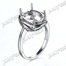 SILVER ,10K ,14K WHITE GOLD 11x8MM OVAL SHAPE ENGAGEMENT SEMI MOUNT RING SETTING