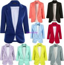 Womens OL Office Suit Short Jackets 3/4 Sleeve Blazer Coats candy color 12colors