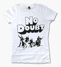 """NO DOUBT """"CLOCKWORK"""" BAND IMAGE GIRLS BABYDOLL WHITE T SHIRT NEW OFFICIAL GWEN"""