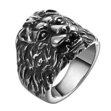 Mens Jewellery Finger Ring Stainless Steel Silver Extravagant Lion Head Gift Man