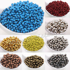 Lots 20-100Pcs Metal Round Spacer Beads Jewelry Finding 3mm 4mm 5mm 6mm 8mm 10mm