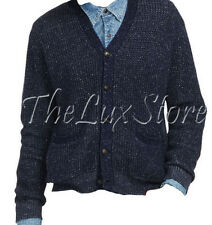 Polo Ralph Lauren Denim & Supply Mens Slim Indigo Waffle Knit Cardigan Sweater