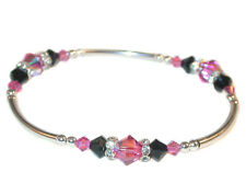 ROSE PINK & JET BLACK Crystal Bracelet Stretch Sterling Silver Swarovski Element