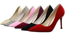 Womens OL Suede Stiletto High Heels Shallow Sexy Pointed Toe Slim Pumps Shoes