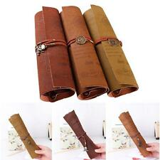 Retro Pirate Treasure Map Roll Up PU Leather Pen Pencil Case Make Up Bag Tool AU