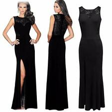 Women Sexy Lace Slit Sleeveless Cocktail Party Evening Gown Long Dress
