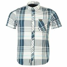 VOI Mens Doc Large Check Shirt Short Sleeve Button Fastening Top Casual