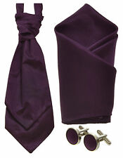 BOYS DEEP PURPLE PRE TIED WEDDING CRAVAT, HANDKERCHIEF, CUFFLINKS OR FULL SET