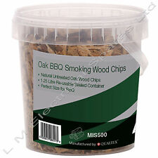 1.25 Litre Resealable Tub Oak BBQ Barbecue Smoking Wood Chips Smoker Chippings