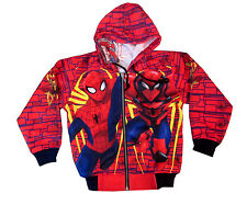 Boys ULTIMATE SPIDER-MAN vibrant red hooded sweatshirt jacket S-XL Age 4-10y
