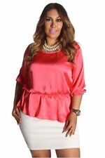 DEALZONE Two Tone Keyhole Dress 1X 2X Women Plus Size Pink Cocktail