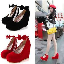 Womens High Heel Wedge Mary Jane Bowknot Platform Buckle Pumps Fashion New SHoes