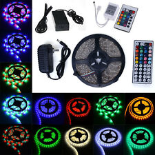 5M SMD RGB 5050 3528 5630 RGB White 300 LED Strip Light 24/44KRemote 12V Adapter