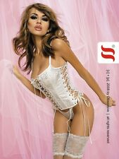 Sexy Brocade Corsage WEDDING EROTIC SUSPENDER SET Corset Pattern Sexy lingerie S