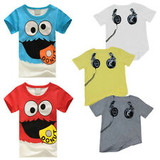 Hot Boy Short Sleeve T Shirt Cartoon Print Crew Neck Baby Kids Tops Toddler Tee
