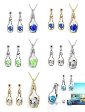 Ladies jewelry set Necklace Earrings silver plated Crystal-stone Heart in Bottle