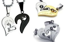 Partner-necklaces Love You 2 Heart halves, Stainless steel Silver, Gold, Black