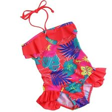 New Kids Girls One Piece Floral Halter Tankini Swimwear Bikini Bathing Swim Suit