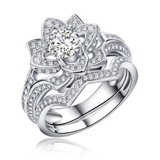 Flower Round White CZ 925 Sterling Silver Wedding Engagement Ring Set Size 5-10