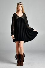 PLUS SIZE BLACK CROCHETED BOHO GYPSY BABYDOLL SHIRT MINI DRESS TUNIC 1X 2X 3X