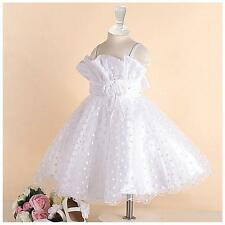 Kids White Christening Communion Wedding Flower Girls Party Dresses AGE 1 to 12Y