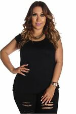 DEALZONE Solid Print Ruched Side Top 1X Women Plus Size Black Short Sleeve