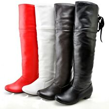 Ladies' Shoes Synthetic Leather Low Cuban Heel Knee High Boots AU All Size b069