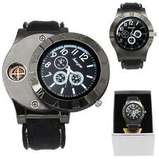 New Military Men Watch USB Cigarette Rechargeable Windproof Lighter analog Watch