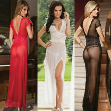 Lace Hot Sexy Slit Perspective Nightwear Lingerie Women's Long Dress +G-String