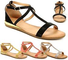 LADIES WOMEN FLAT STRAPPY METALLIC OPEN TOE DRESSY PARTY SPARKLY SANDALS SHOES