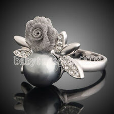 18K White Gold GP Swarovski Crystal Pearl Flower Cocktail Ring 221