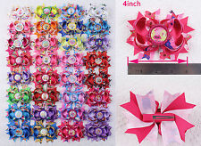 Hot sale 4~18pc Girl kids Baby Hair Bows Minions Sophie Little Pony Ribbon 2005B