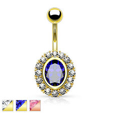 Oval Shape CZ 14K Gold Plated Rose Gold Surgical Steel Navel Belly Ring 14g