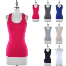Ribbed Racerback Sleeveless Scoop Neck Tank Top Cute Casual Cotton Poly S M L