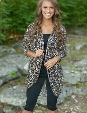 Women's Ladies Sexy Leopard Long Sleeve Chiffon Cardigan Blouse Shirt Tops Coat