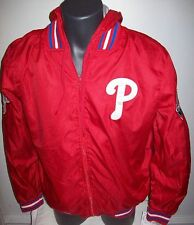PHILADELPHIA PHILLIES Ripstop Nylon Jacket with attached hood S M L XL 2X 3X RED