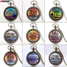 The Bible theme Antique Pocket Watch Gift Quartz Vintage Pendant Necklace Chain