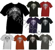 DEMON RIDER TATTOO GHOST SKULL TOOLS MOTORCYCLE GEAR GRAPHIC PRINTED T-SHIRT TEE