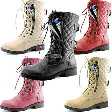 Women Lace-Up Ankle Military Combat Round Toe Quilted Booties Credit Card Pocket
