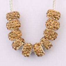 5/20Pc Charm Big Hole Rhinestone Golden Plated Metal Loose Spacer Beads Findings