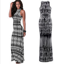 Fashion Womens Summer Sexy Printing Waist Hollow Out Maxi Cocktail Long Dress